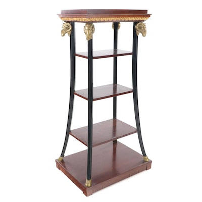 John Widdicomb Neoclassical Style Cherry, Ebonized Wood and Brass Étagère