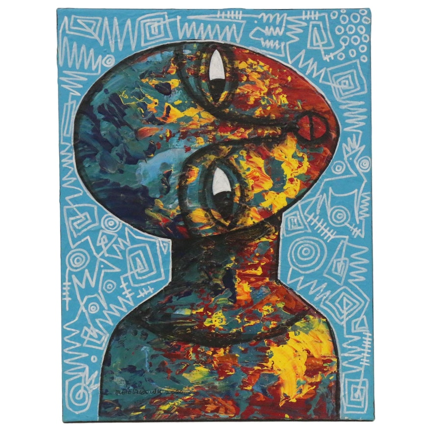 """Abiola Idowu Mixed Media Painting """"I Do Not Care but the World Need Care,"""" 2020"""