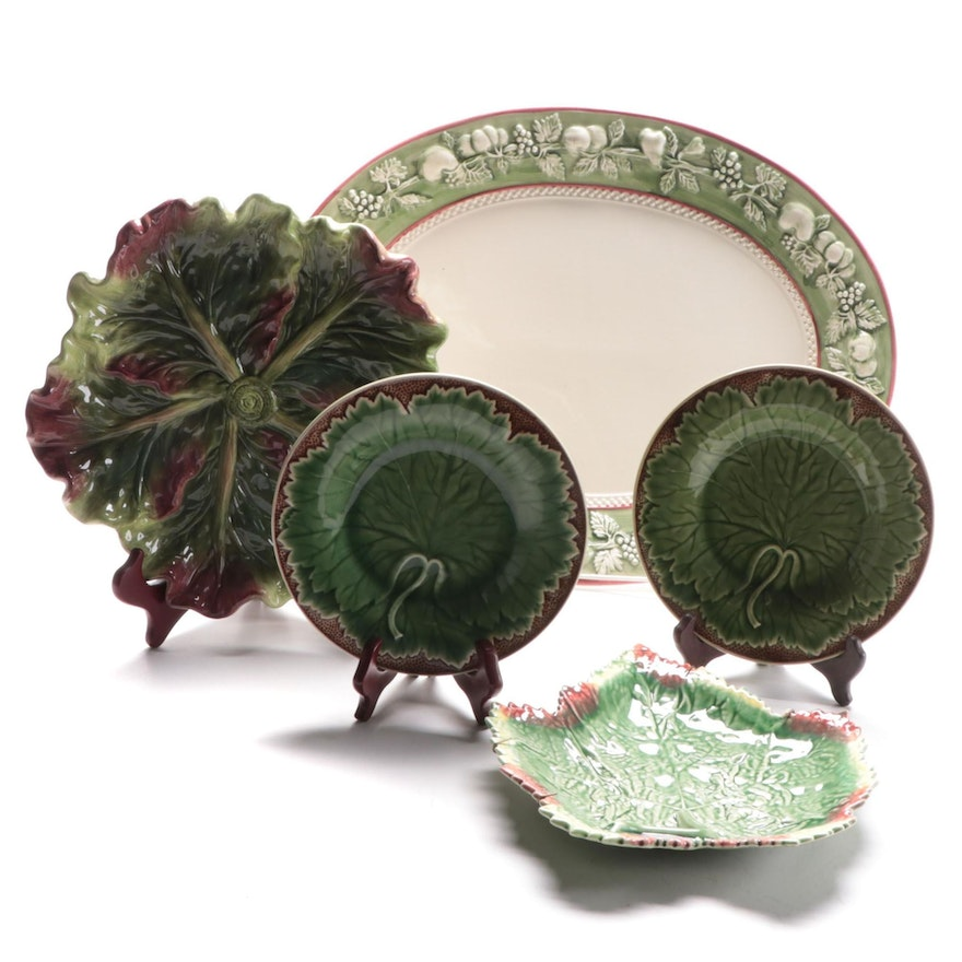 Bordallo Pinheiro and Other Majolica Plates and Platters, Mid-Late 20th Century