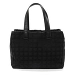 Chanel Travel Line Tote in Black Nylon CC Jacquard and Leather