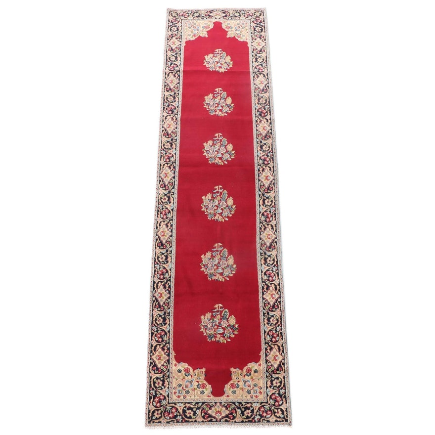 2'11 x 11'10 Hand-Knotted Persian Yazd Wool Carpet Runner
