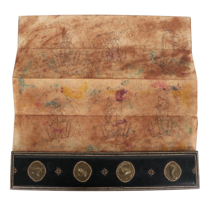 Burmese Buddhist Ink and Watercolor Parabaik Manuscript, 20th Century
