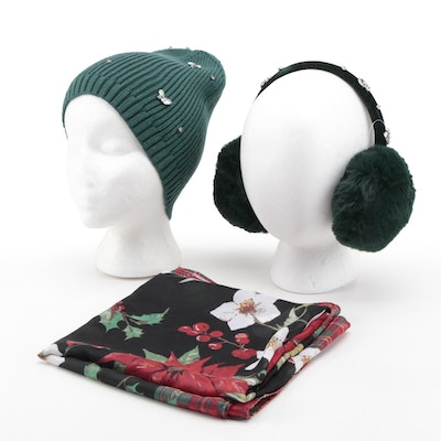 INC and Charter Club Embellished Earmuffs and Beanie with Printed Scarf