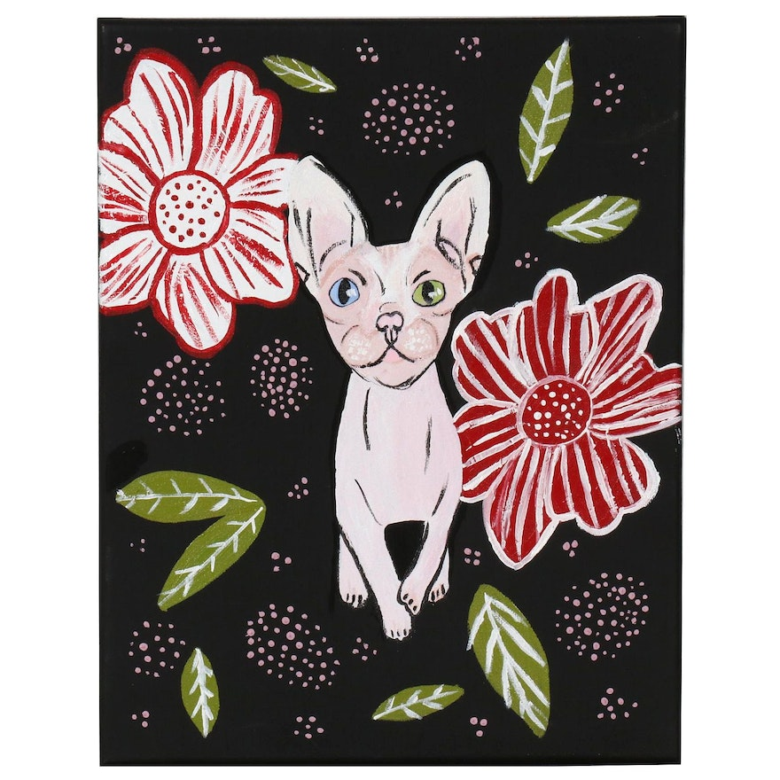 Acrylic Painting of Hairless Cat and Flowers