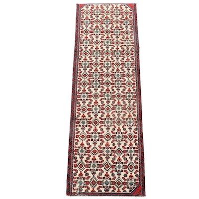 2'8 x 8'7 Hand-Knotted Persian Hamadan Wool Carpet Runner