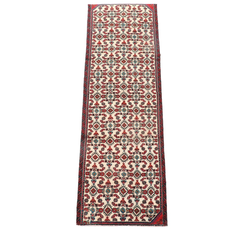 2'8 x 8'7 Hand-Knotted Persian Hamadan Wool Carpet Runner