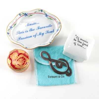 Tiffany & Co. Sterling Treble Clef Bookmark with Other Lidded Boxes and Dish