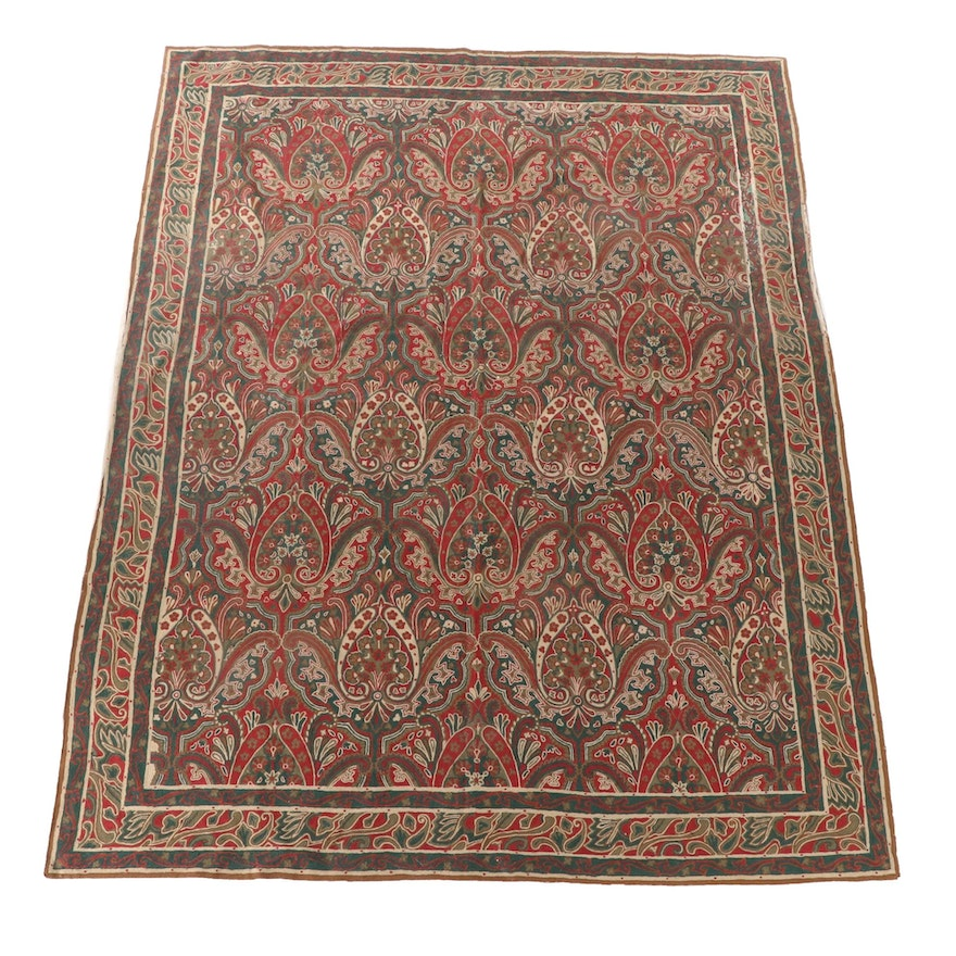 7'10 x 10'1 Hand-Embroidered Indian Kashmiri Chain Stitch Floral Wool Rug