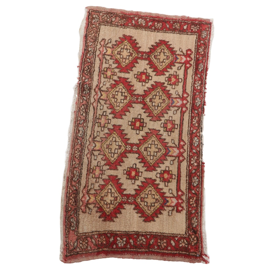 1'7 x 3'1 Hand-Knotted Persian Turkmen Accent Rug, 1960s