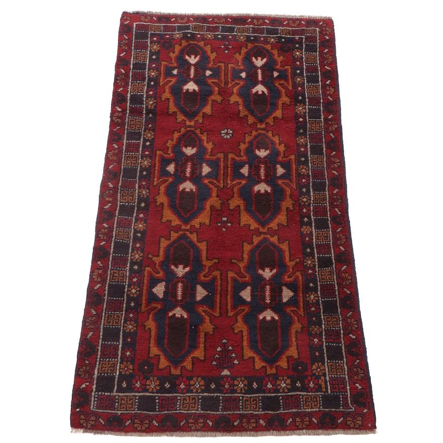 3'5 x 6'4 Hand-Knotted Afghani Turkoman Long Rug, 2000s