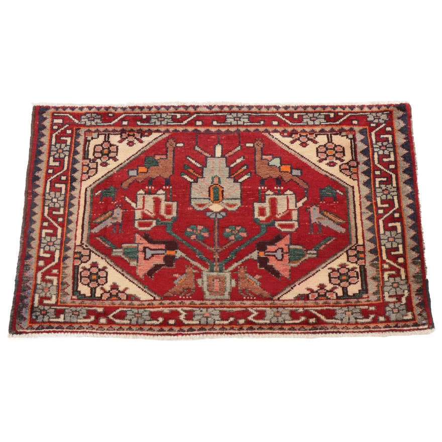 3' x 1'10 Hand-Knotted Persian Malayer Pictorial Accent Rug, 1970s