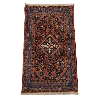 1'10 x 3'4 Hand-Knotted Persian Zanjan Accent Rug, 1970s