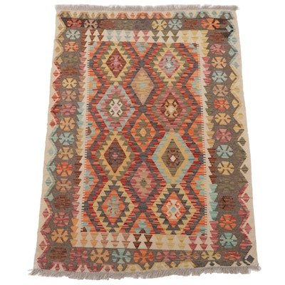 3'5 x 5'3 Handwoven Turkish Caucasian Kilim Accent Rug, 2010s