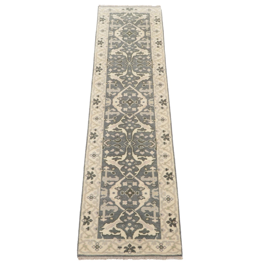 2'7 x 9'10 Hand-Knotted Indo-Turkish Oushak Carpet Runner, 2010s