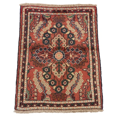 1'11 x 2'7 Hand-Knotted Persian Lilihan Accent Rug, 1980s