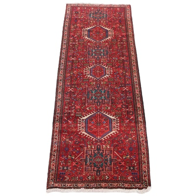 3'5 x 10'1 Hand-Knotted Persian Pictorial Carpet Runner, 1950s