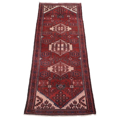 3'10 x 10'1 Hand-Knotted Persian Wide Carpet Runner, 1970s