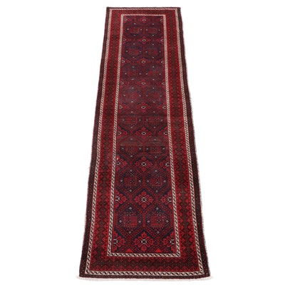 3'3 x 11'7 Hand-Knotted Persian Pictorial Carpet Runner, 1950s