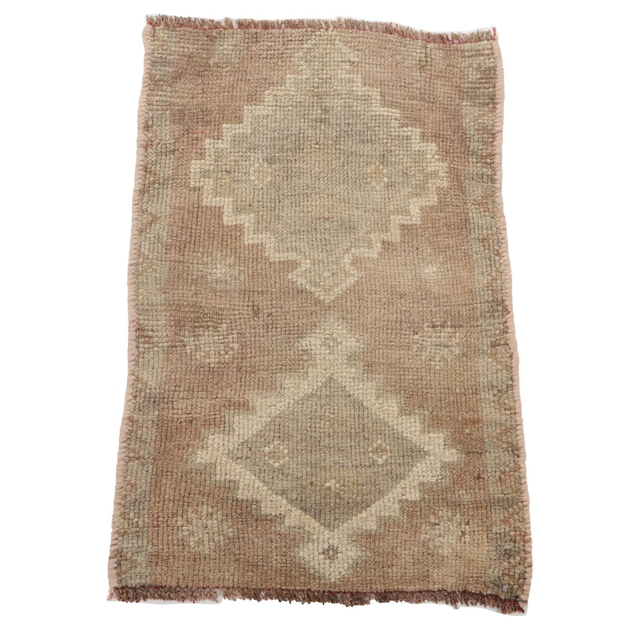 1'7 x 2'5 Hand-Knotted Turkish Oushak Accent Rug, 1930s