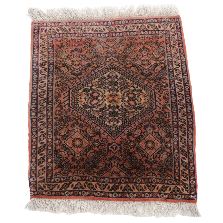 1'9 x 2'3 Hand-Knotted Persian Bijar Accent Rug, 1970s