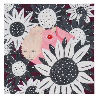 Acrylic Painting of Pink Guinea Pig in Flowers