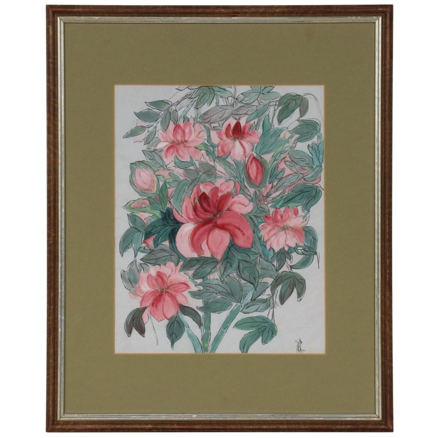 Watercolor Painting of Pink Blossoms