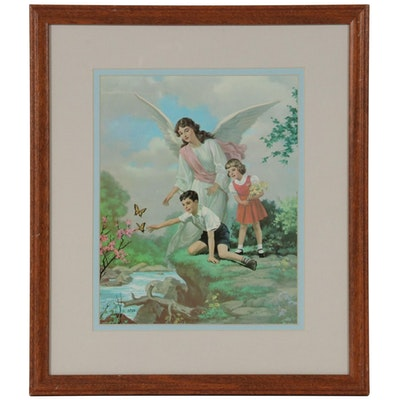 Offset Lithograph of Angel and Children