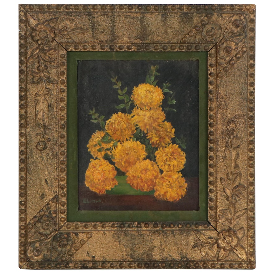Still Life Oil Painting with Marigolds, 20th Century