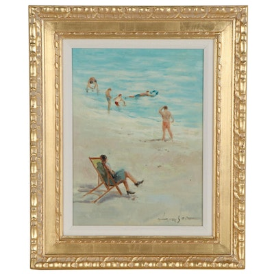 Oil Painting of Beach Scene, Late 20th Century