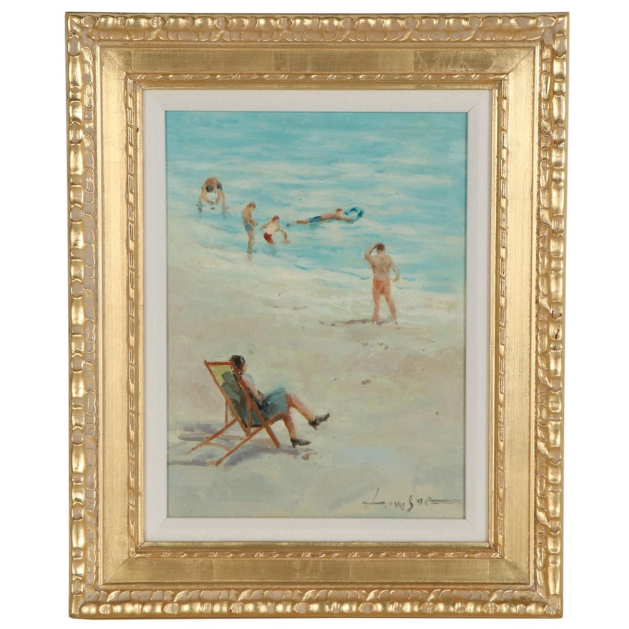 Oil Painting of Beach Scene, Late 20th Century