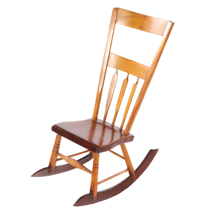 American Primitive Half Arrow-Back Rocking Chair, 19th Century
