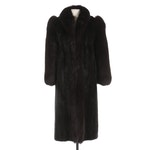 Saga Mink Dark Mahogany Mink and Fox Fur Full-Length Coat