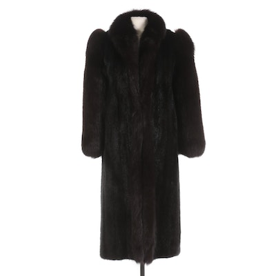 Saga Mink Dark Mahogany Mink and Fox Fur Full-Length Coat