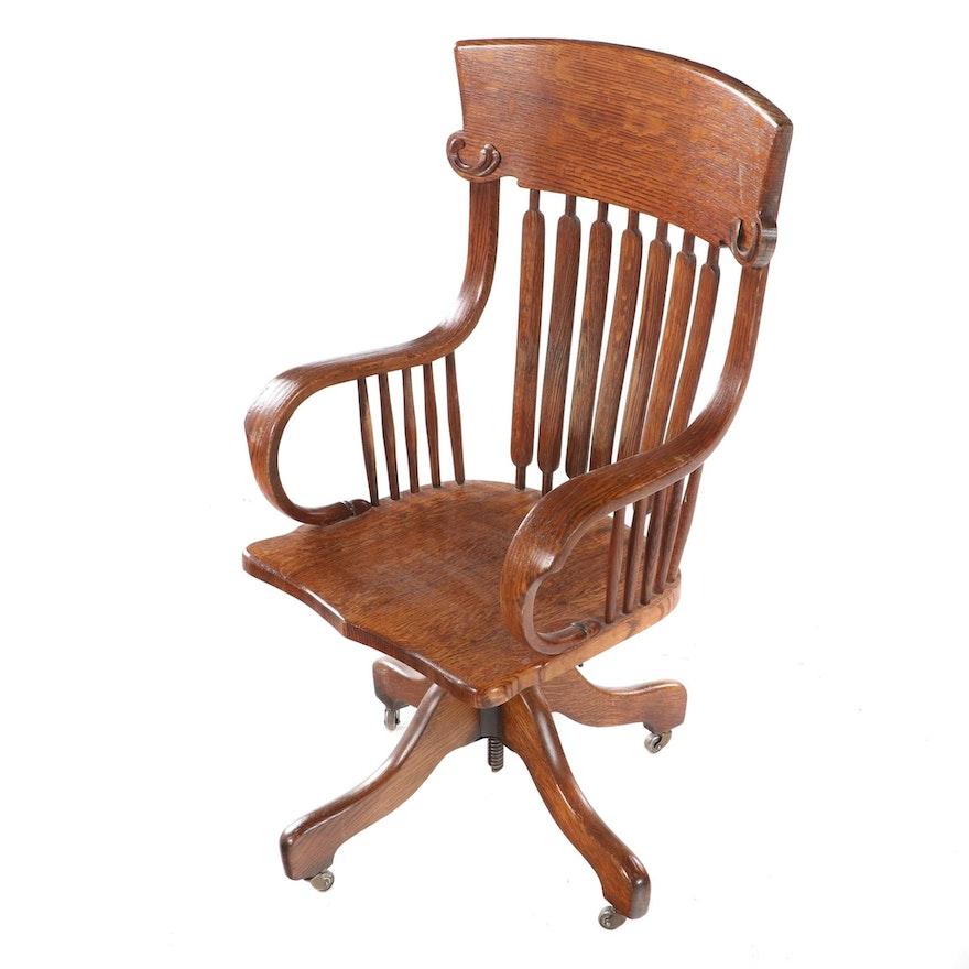 J.S. Ford Johnson & Co. Quartersawn Oak Swivel-Tilt Desk Chair, circa 1900