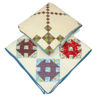 """Handcrafted """"Churn Dash"""" and """"Single Irish Chain"""" Pieced Quilts"""