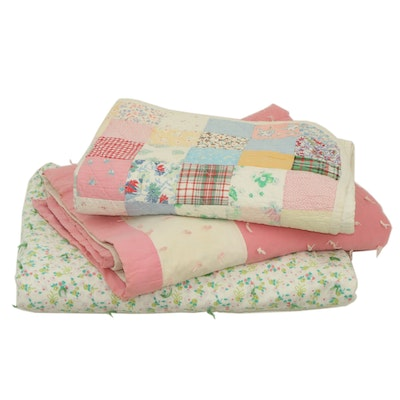 """Handcrafted Floral Quilts Including """"One Patch"""" and Printed Floral Motif"""