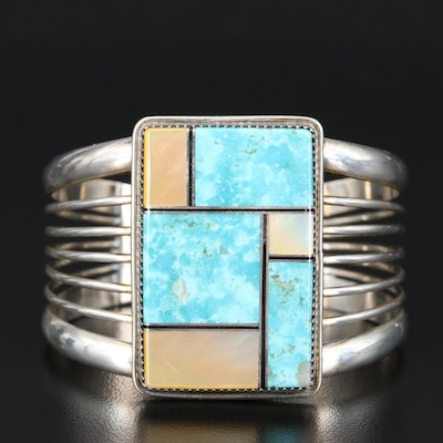 Loren Thomas Begay Navajo Diné Turquoise and Mother of Pearl Cuff Bracelet