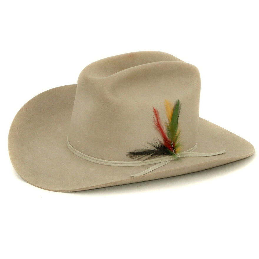 Stetson 5X Beaver Felt Cowboy Hat with Feather Accent