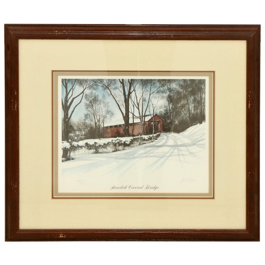 "James D. Werline Offset Lithograph ""Stonelick Covered Bridge"""