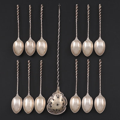 Whiting Mfg. Co. Sterling Twist Handle Demitasse Spoons and Other Olive Spoon
