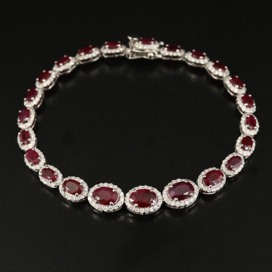 Platinum Ruby and 2.03 CTW Diamond Halo Bracelet