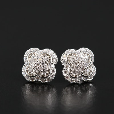 Sterling Silver Cubic Zirconia Quatrefoil Stud Earrings
