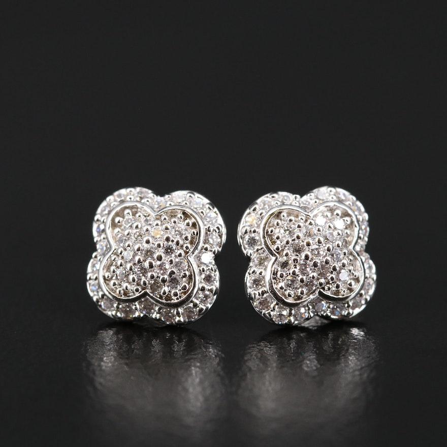Sterling Silver Cubic Zirconia Quatrefoil Stud Earrings