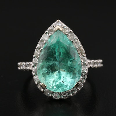 14K 6.51 CT Emerald and Diamond Ring with GIA Report