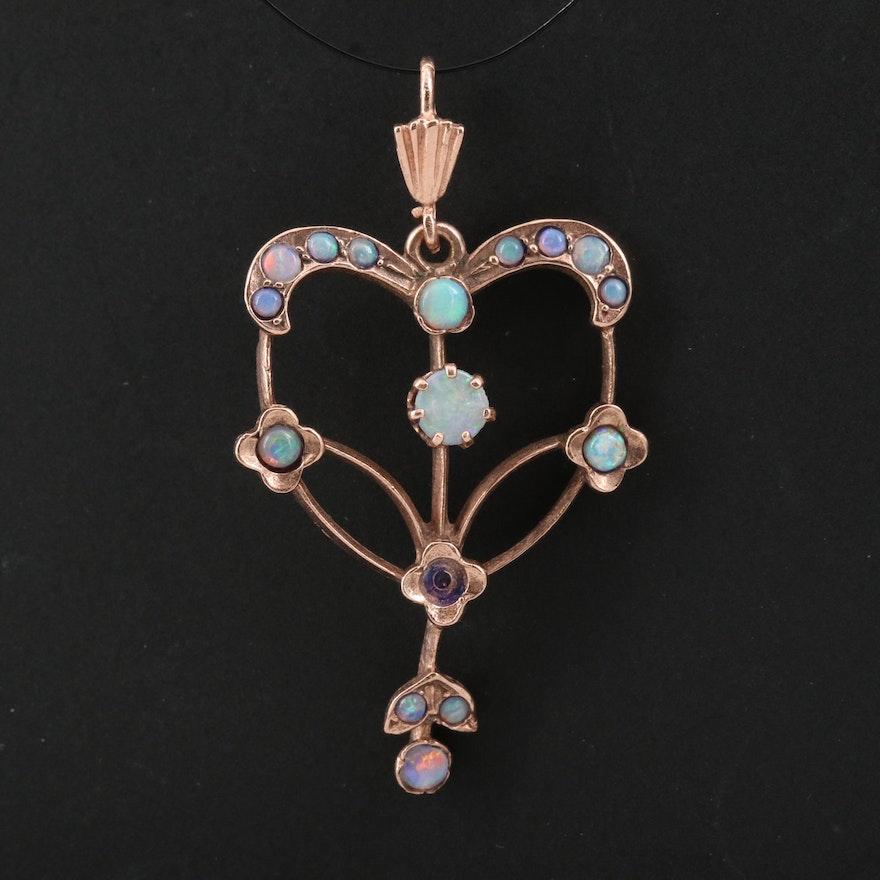 Art Nouveau 10K Rose Gold Opal Lavalier Pendant
