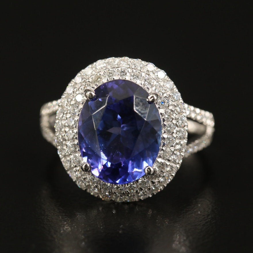 Platinum 4.65 CT Tanzanite and Diamond Halo Ring
