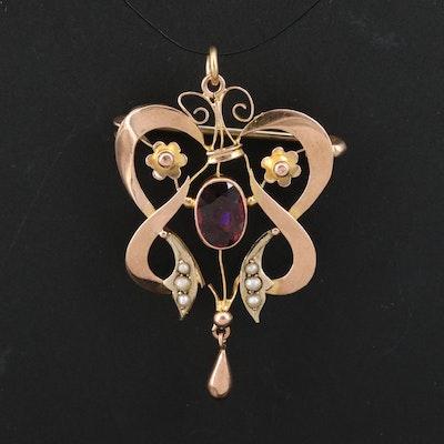 Art Nouveau 10K Garnet and Pearl Pendant