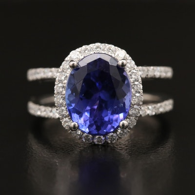 Platinum 4.03 CT Tanzanite and Diamond Ring with Split Shoulders