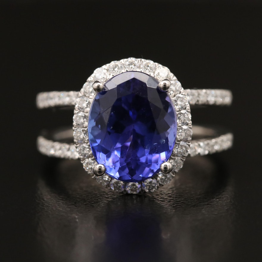 Platinum 4.03 CT Tanzanite and Diamond Ring with Split Shoulders