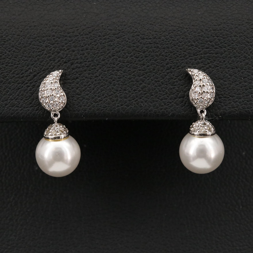 Sterling Faux Pearl and Cubic Zirconia Earrings
